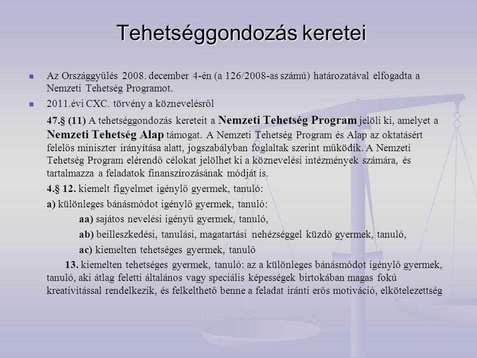 Tehetséggondozás keretei Tehetséggondozás keretei   Az Országgyűlés 2008. december 4-én (a 126/2008-as számú) határozatával elfogadta a Nemzeti Tehe