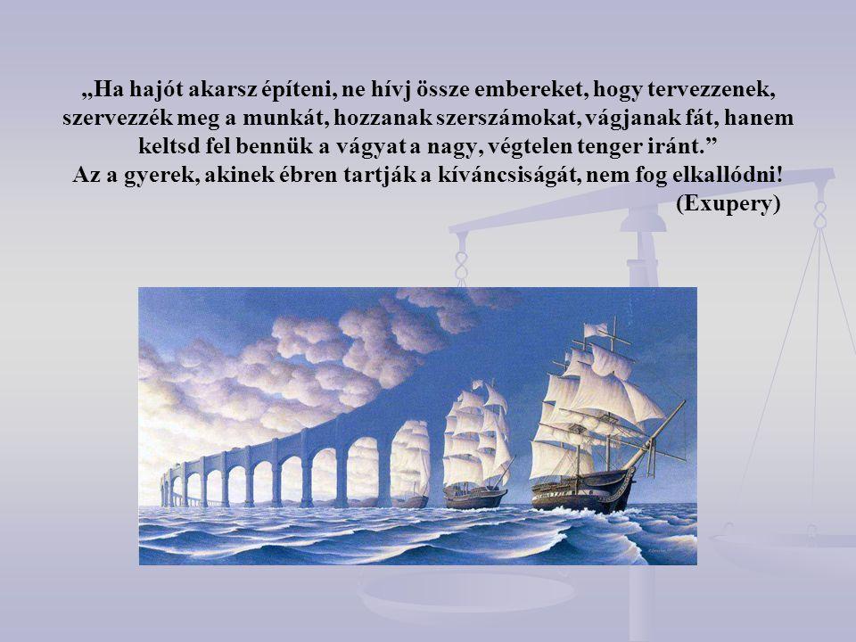 """""""Ha hajót akarsz építeni, ne hívj össze embereket, hogy tervezzenek, szervezzék meg a munkát, hozzanak szerszámokat, vágjanak fát, hanem keltsd fel be"""