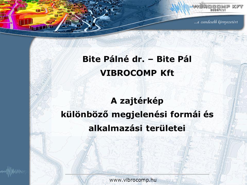 www.vibrocomp.hu Bite Pálné dr. – Bite Pál VIBROCOMP Kft A zajtérkép különböző megjelenési formái és alkalmazási területei