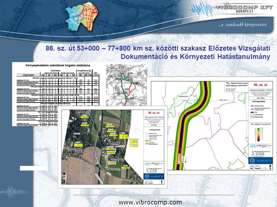 86. sz. út 53+000 – 77+800 km sz. közötti szakasz Előzetes Vizsgálati Dokumentáció és Környezeti Hatástanulmány www.vibrocomp.com