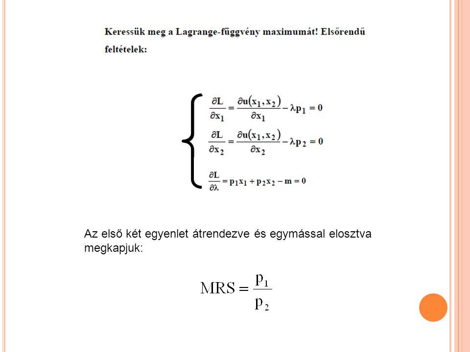 Az első két egyenlet átrendezve és egymással elosztva megkapjuk:
