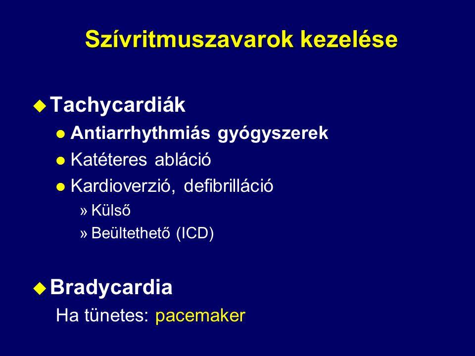 Primer prevenció célja Magas rizikójú betegek azonosítása az első VF epizódus előtt optimális gyógyszeres kezelés mellett és profilaktikus ICD beültetés (pl MI+ EF<30%) Secunder prevenció l Reanimáció (VF-VT) l Tartós VT l Syncope és kiváltható malignus ritmuszavar szívbetegség talaján (AVID) Hirtelen szívhalál primer és secunder prevenciója