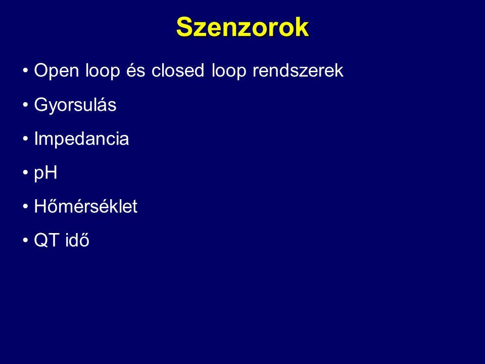 Szenzorok • Open loop és closed loop rendszerek • Gyorsulás • Impedancia • pH • Hőmérséklet • QT idő