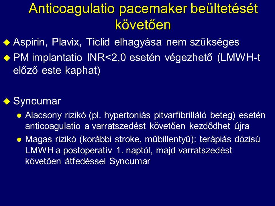 Anticoagulatio pacemaker beültetését követően u Aspirin, Plavix, Ticlid elhagyása nem szükséges u PM implantatio INR<2,0 esetén végezhető (LMWH-t előz