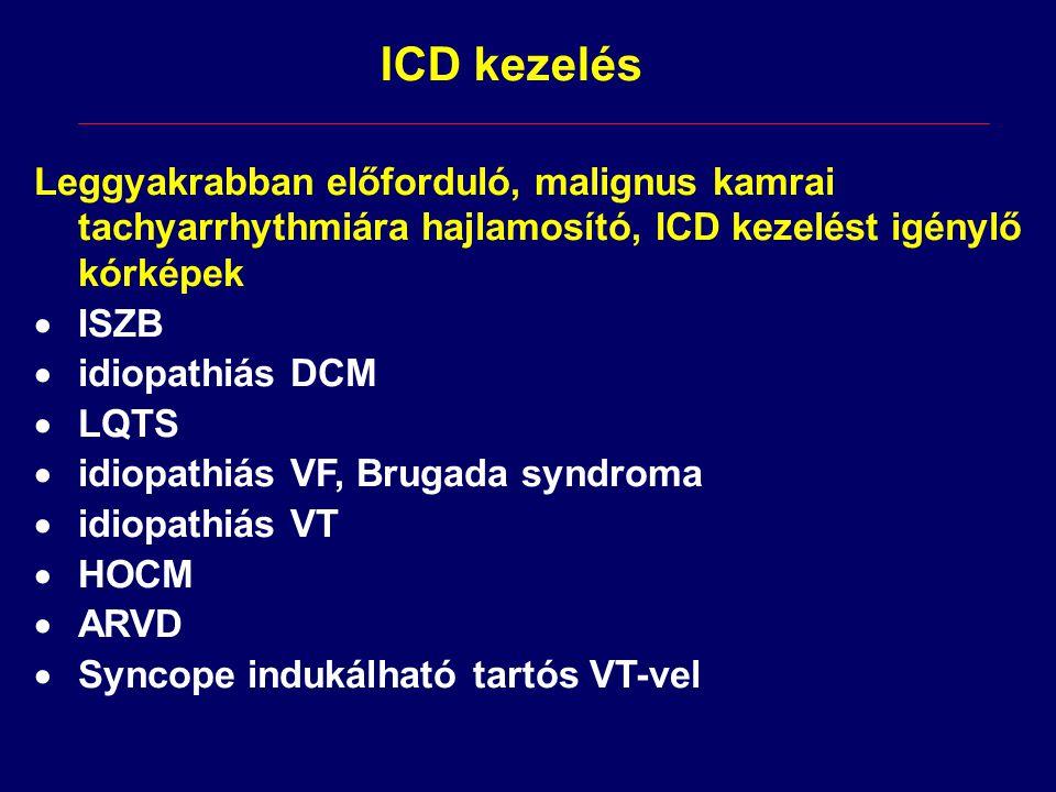 Leggyakrabban előforduló, malignus kamrai tachyarrhythmiára hajlamosító, ICD kezelést igénylő kórképek  ISZB  idiopathiás DCM  LQTS  idiopathiás V