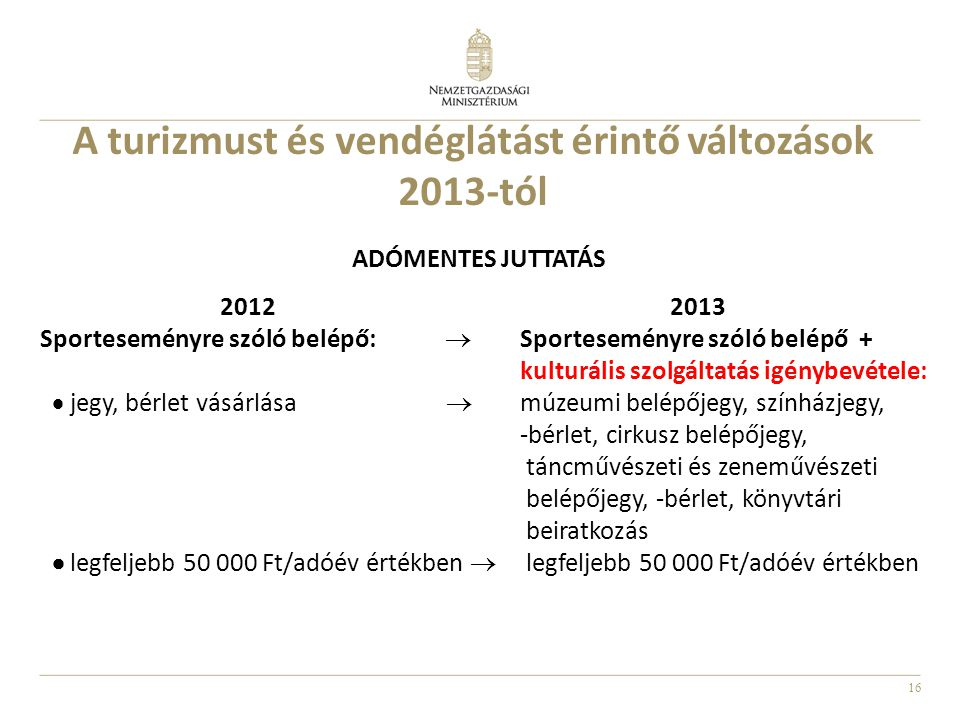 16 A turizmust és vendéglátást érintő változások 2013-tól ADÓMENTES JUTTATÁS 2012 2013 Sporteseményre szóló belépő:  Sporteseményre szóló belépő + ku