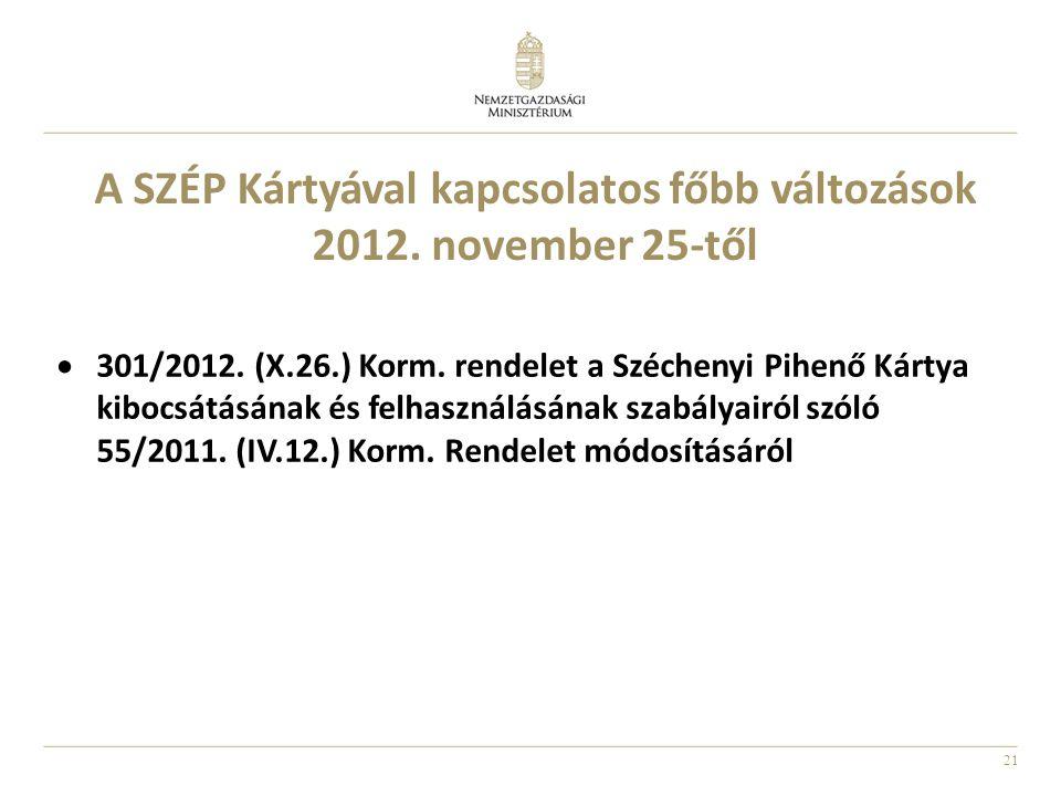 21 A SZÉP Kártyával kapcsolatos főbb változások 2012. november 25-től  301/2012. (X.26.) Korm. rendelet a Széchenyi Pihenő Kártya kibocsátásának és f