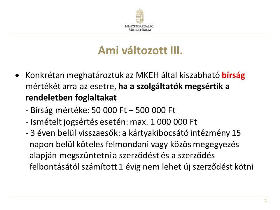 24 Ami változott III.  Konkrétan meghatároztuk az MKEH által kiszabható bírság mértékét arra az esetre, ha a szolgáltatók megsértik a rendeletben fog