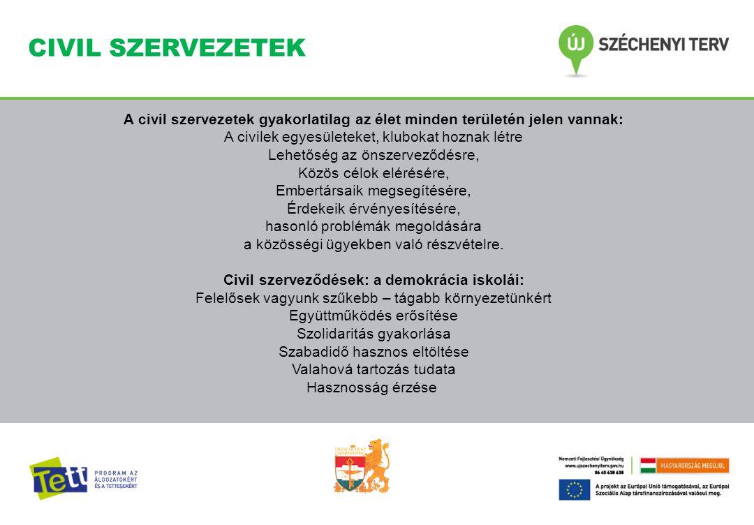 CIVIL SZERVEZETEK A civil szervezetek gyakorlatilag az élet minden területén jelen vannak: A civilek egyesületeket, klubokat hoznak létre Lehetőség az