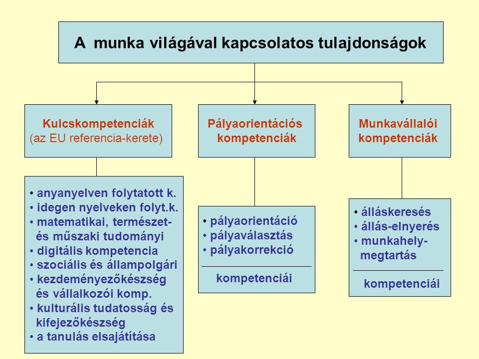 A munka világával kapcsolatos tulajdonságok Kulcskompetenciák (az EU referencia-kerete) Pályaorientációs kompetenciák Munkavállalói kompetenciák • anyanyelven folytatott k.