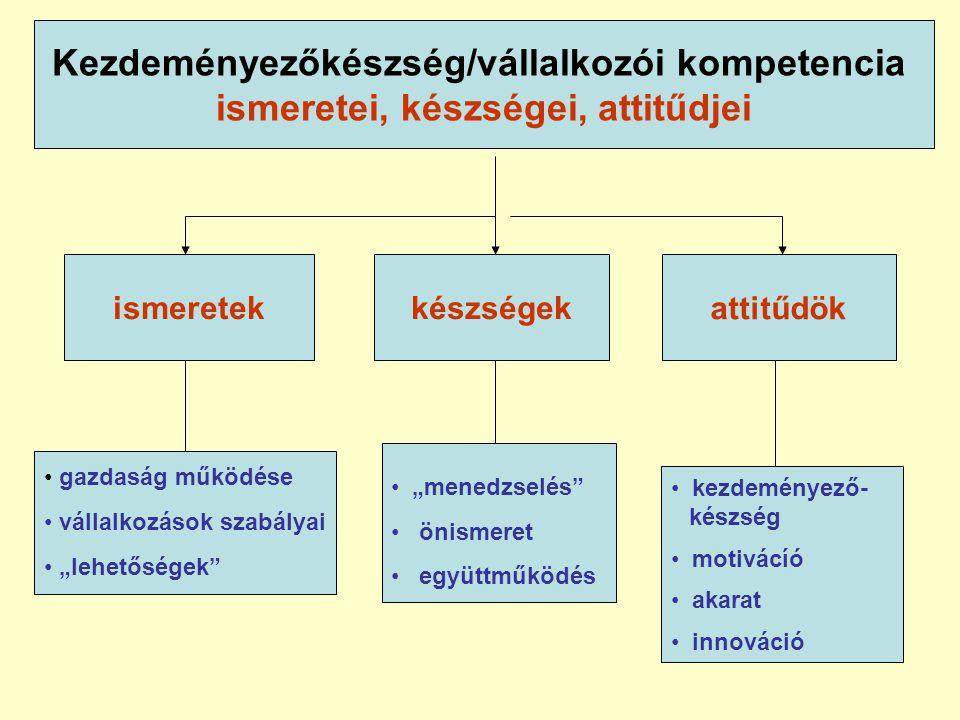 """Kezdeményezőkészség/vállalkozói kompetencia ismeretei, készségei, attitűdjei készségekattitűdök • gazdaság működése • vállalkozások szabályai • """"lehetőségek • """"menedzselés • önismeret • együttműködés • kezdeményező- készség • motivácíó • akarat • innováció ismeretek"""