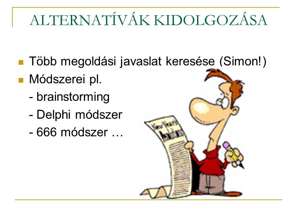 ALTERNATÍVÁK KIDOLGOZÁSA  Több megoldási javaslat keresése (Simon!)  Módszerei pl. - brainstorming - Delphi módszer - 666 módszer …