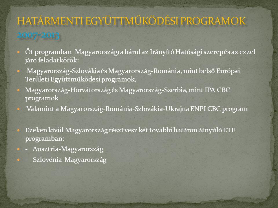  Öt programban Magyarországra hárul az Irányító Hatósági szerep és az ezzel járó feladatkörök:  Magyarország-Szlovákia és Magyarország-Románia, mint belső Európai Területi Együttműködési programok,  Magyarország-Horvátország és Magyarország-Szerbia, mint IPA CBC programok  Valamint a Magyarország-Románia-Szlovákia-Ukrajna ENPI CBC program  Ezeken kívül Magyarország részt vesz két további határon átnyúló ETE programban:  - Ausztria-Magyarország  - Szlovénia-Magyarország