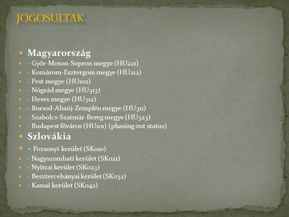  Magyarország  - Győr-Moson-Sopron megye (HU221)  - Komárom-Esztergom megye (HU212)  - Pest megye (HU102)  - Nógrád megye (HU313)  - Heves megye (HU312)  - Borsod-Abaúj-Zemplén megye (HU311)  - Szabolcs-Szatmár-Bereg megye (HU323)  - Budapest főváros (HU101) (phasing out status)  Szlovákia  - Pozsonyi kerület (SK010)  - Nagyszombati kerület (SK021)  - Nyitrai kerület (SK023)  - Besztercebányai kerület (SK032)  - Kassai kerület (SK042)