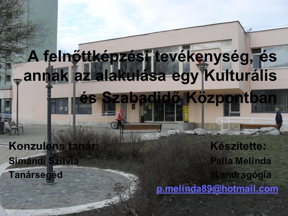 A prezentációm vázlatpontjai:  A felnőttképzés funkcióinak változása Magyarországon  A kutatás behatárolása  Az intézmény vizsgálatának szempontjai ─ A vizsgálat kiterjedése ─ Eredmények, részeredmények  Hivatkozások