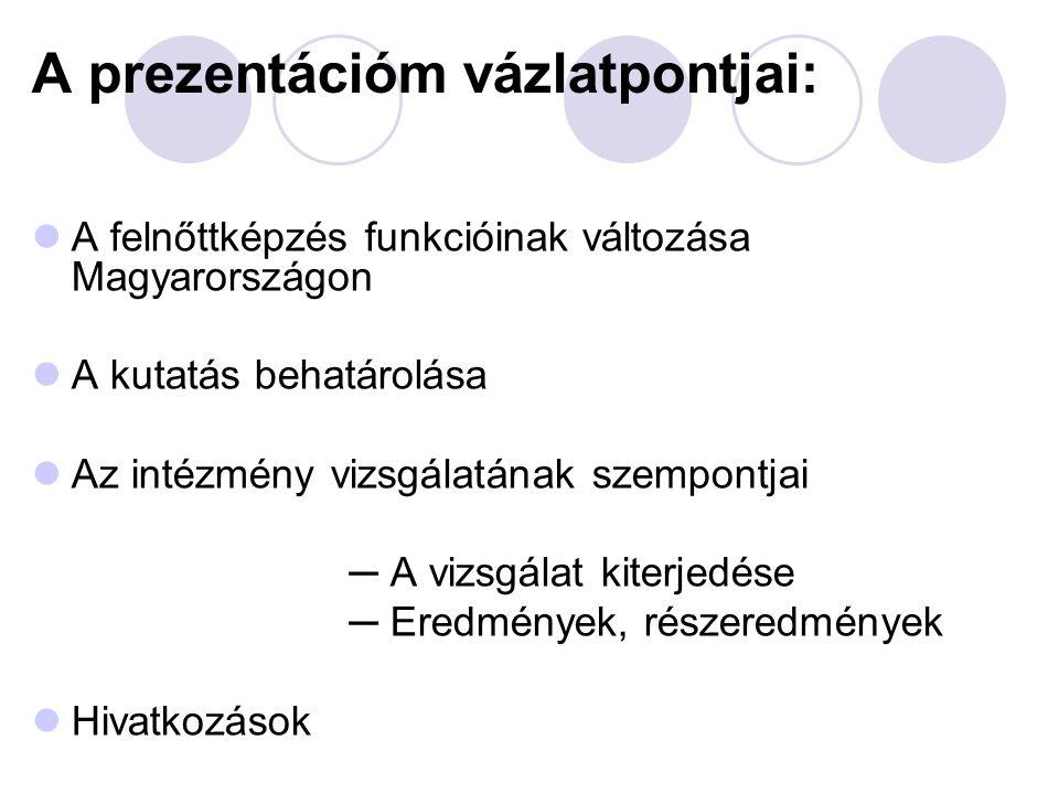 A felnőttképzés funkcióinak változása Magyarországon  Kialakulása: nem köthető konkrét időhöz  18.