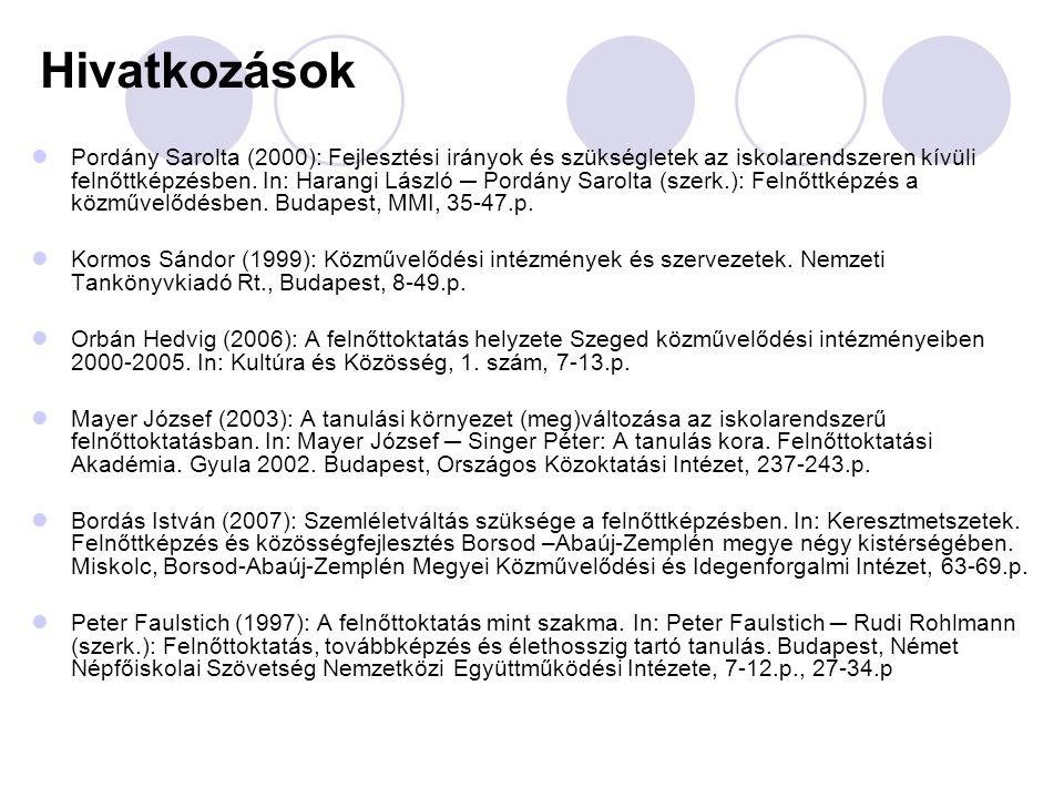 Hivatkozások  Pordány Sarolta (2000): Fejlesztési irányok és szükségletek az iskolarendszeren kívüli felnőttképzésben.