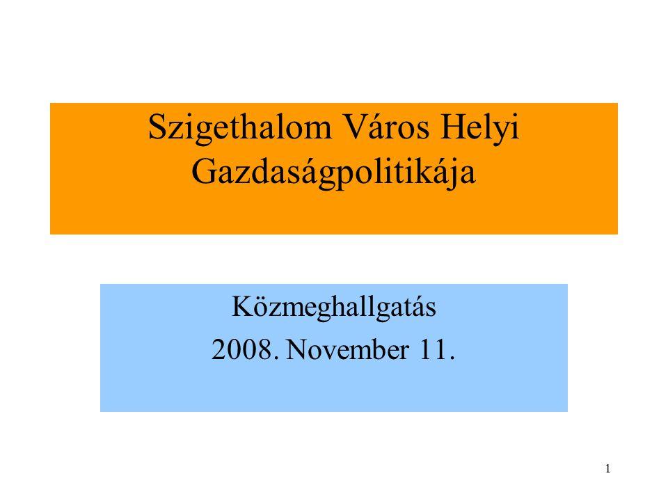 1 Szigethalom Város Helyi Gazdaságpolitikája Közmeghallgatás 2008. November 11.