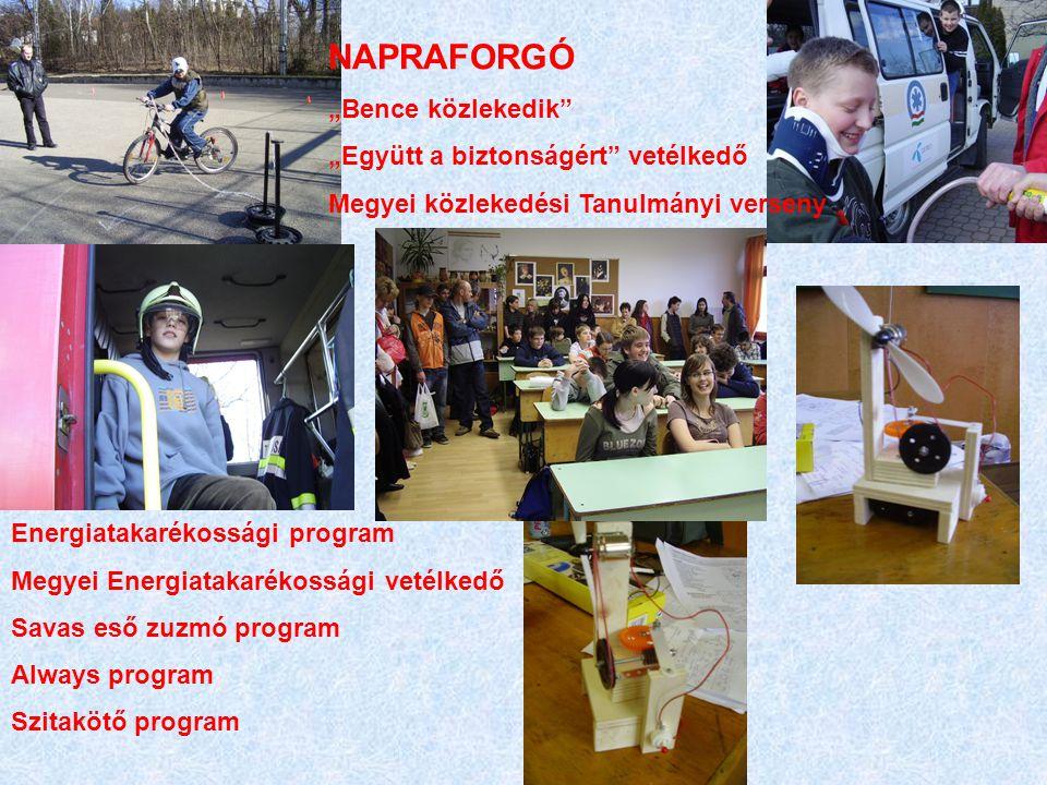 """NAPRAFORGÓ """"Bence közlekedik"""" """"Együtt a biztonságért"""" vetélkedő Megyei közlekedési Tanulmányi verseny Energiatakarékossági program Megyei Energiatakar"""