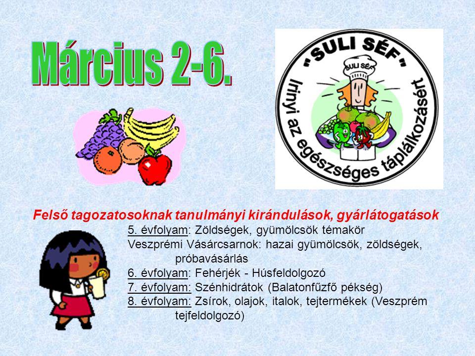 Felső tagozatosoknak tanulmányi kirándulások, gyárlátogatások 5. évfolyam: Zöldségek, gyümölcsök témakör Veszprémi Vásárcsarnok: hazai gyümölcsök, zöl