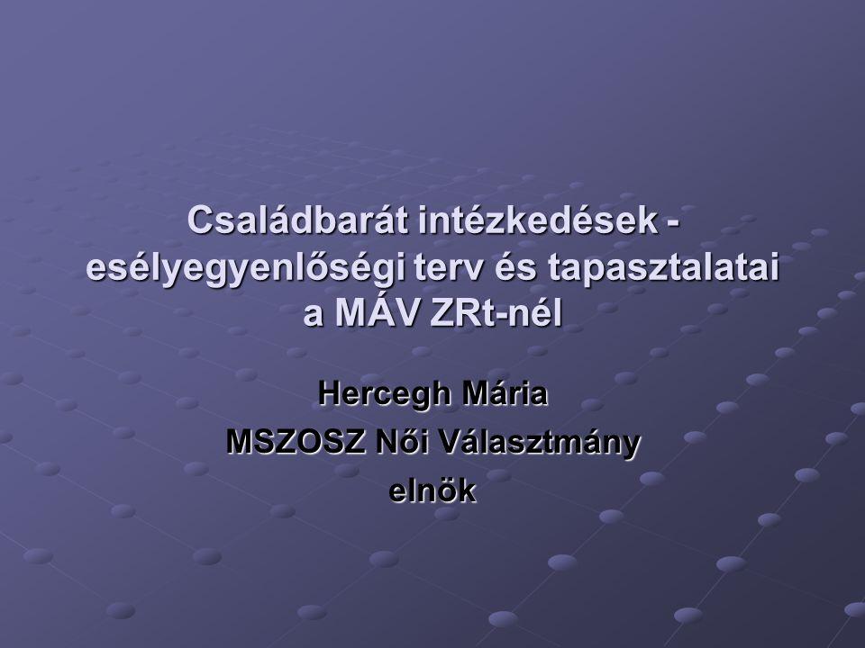 Családbarát intézkedések - esélyegyenlőségi terv és tapasztalatai a MÁV ZRt-nél Hercegh Mária MSZOSZ Női Választmány elnök