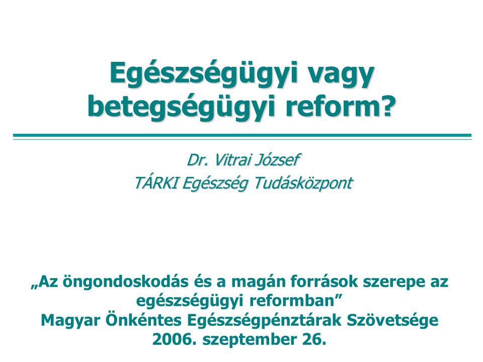 """Egészségügyi vagy betegségügyi reform? Dr. Vitrai József TÁRKI Egészség Tudásközpont """"Az öngondoskodás és a magán források szerepe az egészségügyi ref"""