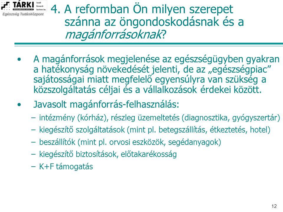 Egészség Tudásközpont 12 4. A reformban Ön milyen szerepet szánna az öngondoskodásnak és a magánforrásoknak? •A magánforrások megjelenése az egészségü