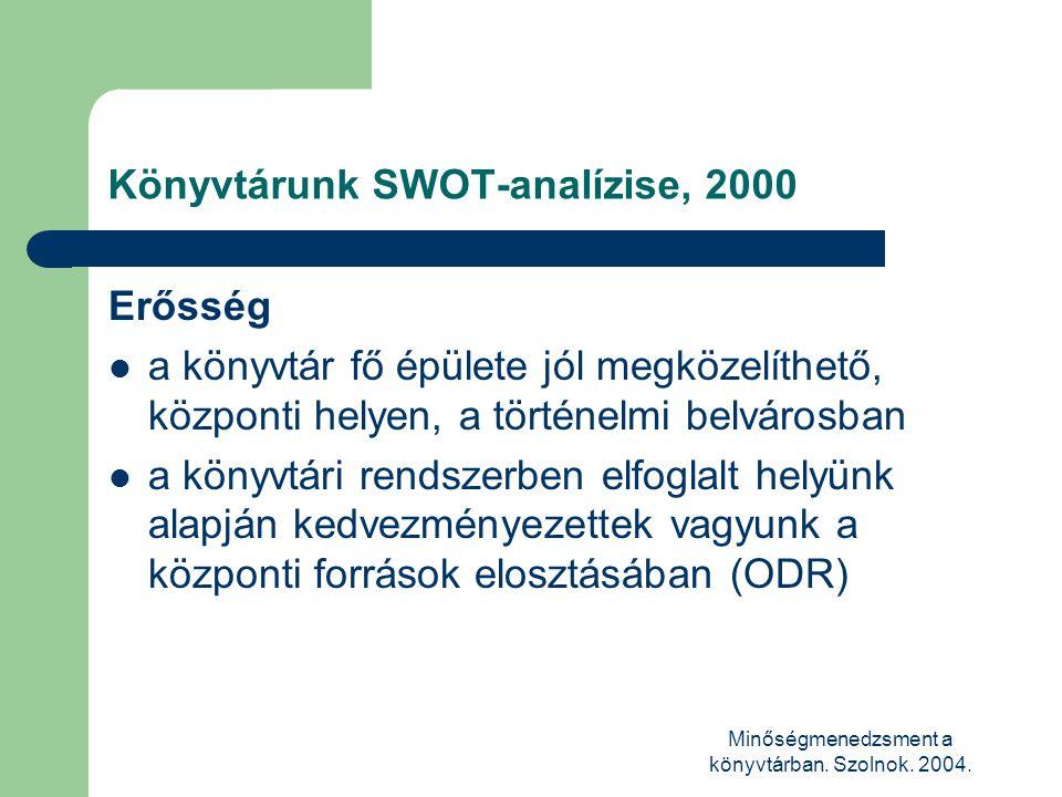 Minőségmenedzsment a könyvtárban. Szolnok. 2004. Könyvtárunk SWOT-analízise, 2000 Erősség  a könyvtár fő épülete jól megközelíthető, központi helyen,
