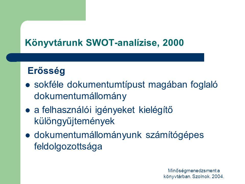 Minőségmenedzsment a könyvtárban. Szolnok. 2004. Könyvtárunk SWOT-analízise, 2000 Erősség  sokféle dokumentumtípust magában foglaló dokumentumállomán