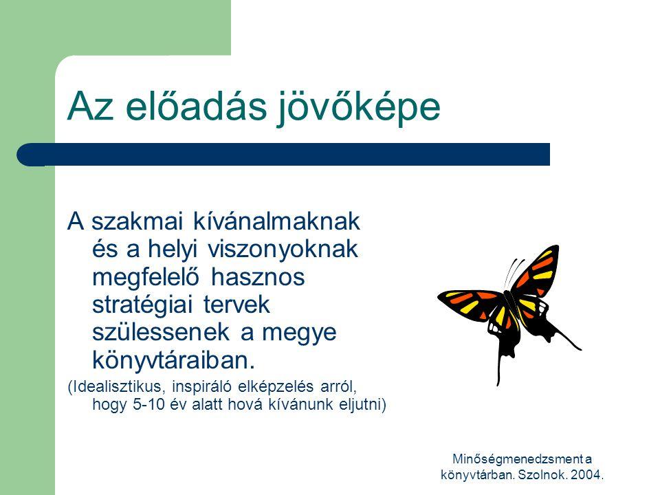 Minőségmenedzsment a könyvtárban. Szolnok. 2004. Az előadás jövőképe A szakmai kívánalmaknak és a helyi viszonyoknak megfelelő hasznos stratégiai terv