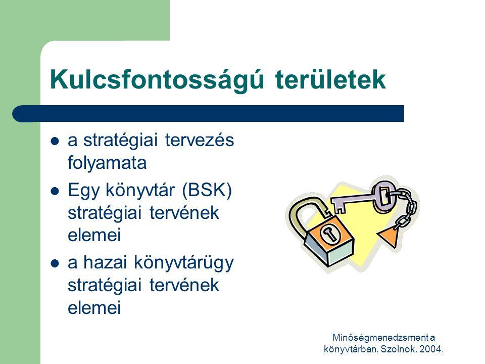 Minőségmenedzsment a könyvtárban. Szolnok. 2004. Kulcsfontosságú területek  a stratégiai tervezés folyamata  Egy könyvtár (BSK) stratégiai tervének