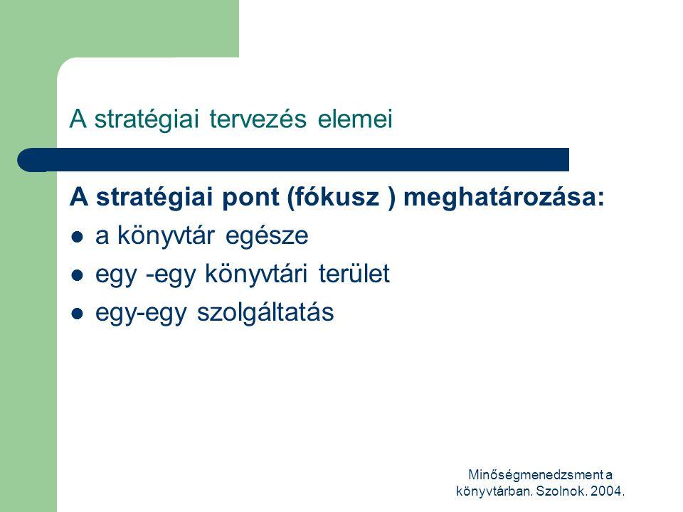 Minőségmenedzsment a könyvtárban. Szolnok. 2004. A stratégiai tervezés elemei A stratégiai pont (fókusz ) meghatározása:  a könyvtár egésze  egy -eg