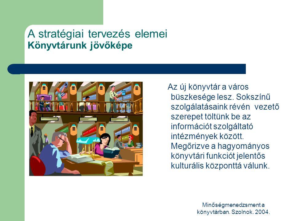 Minőségmenedzsment a könyvtárban. Szolnok. 2004. A stratégiai tervezés elemei Könyvtárunk jövőképe Az új könyvtár a város büszkesége lesz. Sokszínű sz