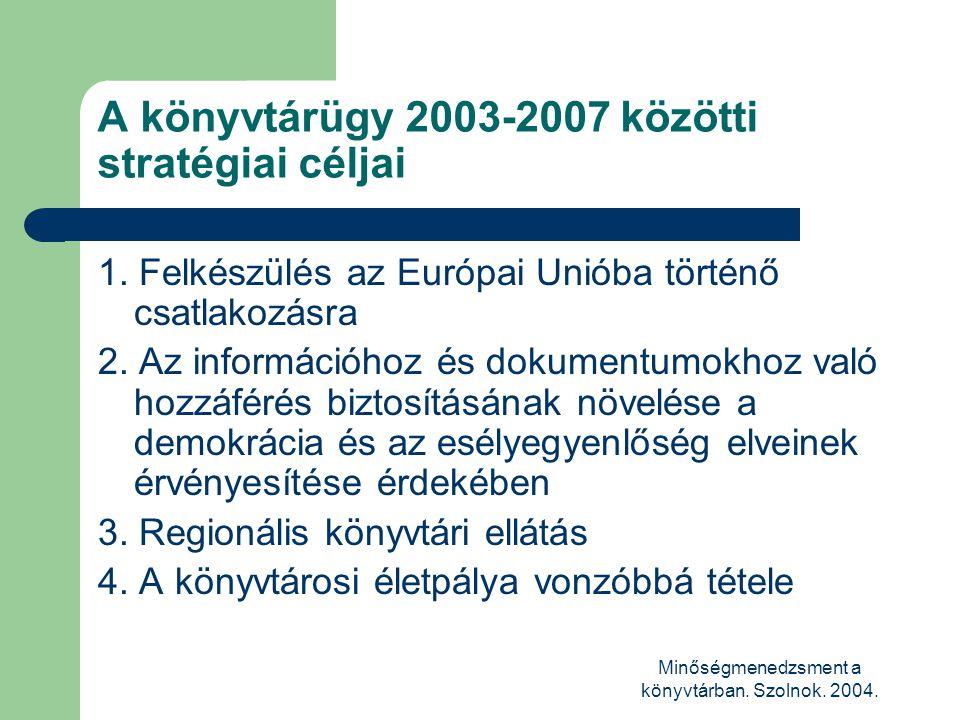 Minőségmenedzsment a könyvtárban. Szolnok. 2004. A könyvtárügy 2003-2007 közötti stratégiai céljai 1. Felkészülés az Európai Unióba történő csatlakozá