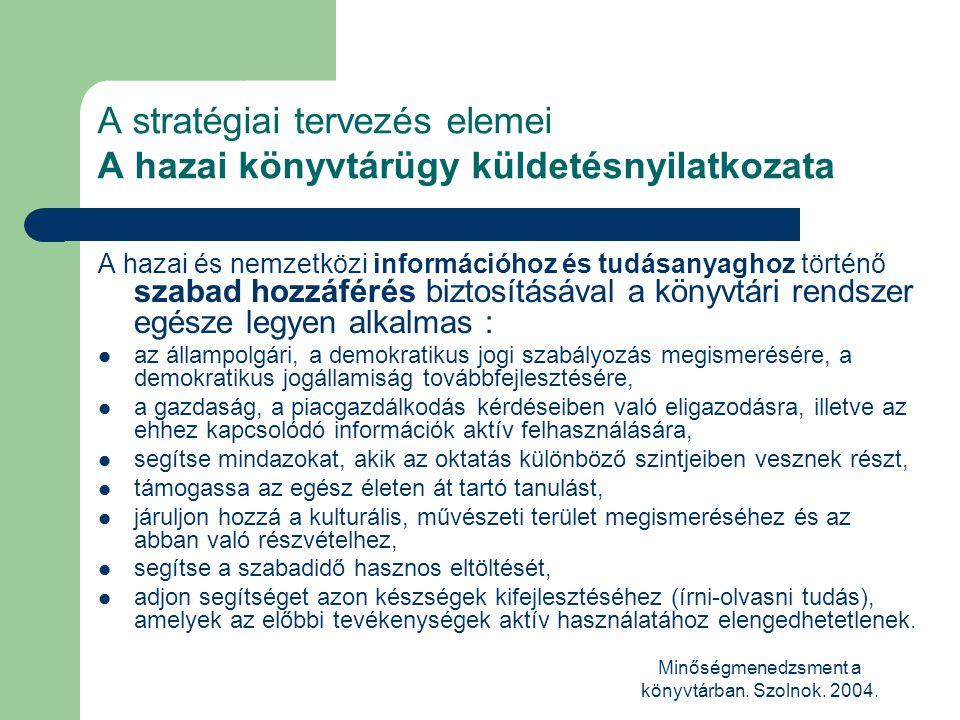 Minőségmenedzsment a könyvtárban. Szolnok. 2004. A stratégiai tervezés elemei A hazai könyvtárügy küldetésnyilatkozata A hazai és nemzetközi informáci