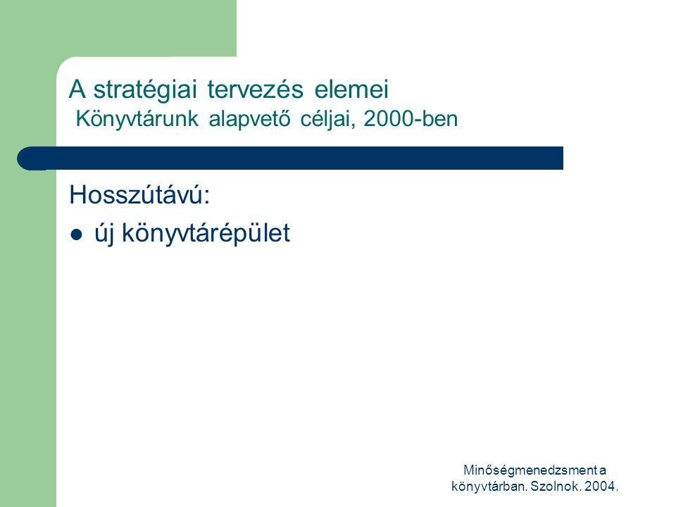Minőségmenedzsment a könyvtárban. Szolnok. 2004. A stratégiai tervezés elemei Könyvtárunk alapvető céljai, 2000-ben Hosszútávú:  új könyvtárépület
