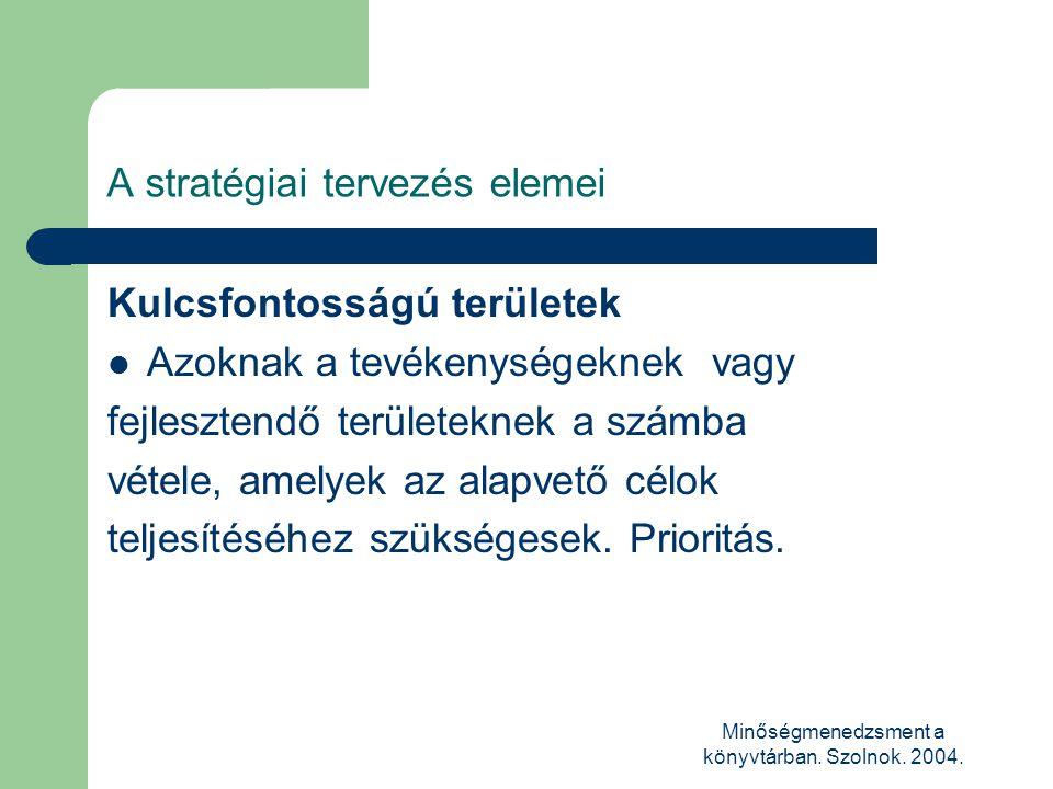 Minőségmenedzsment a könyvtárban. Szolnok. 2004. A stratégiai tervezés elemei Kulcsfontosságú területek  Azoknak a tevékenységeknek vagy fejlesztendő