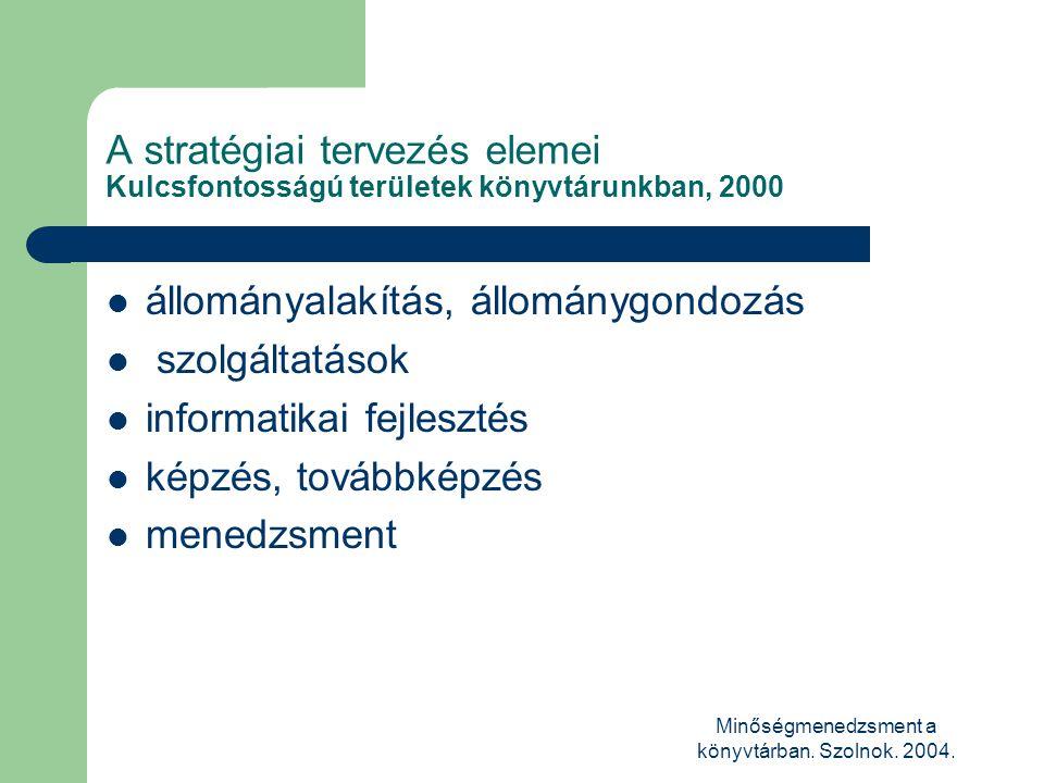 Minőségmenedzsment a könyvtárban. Szolnok. 2004. A stratégiai tervezés elemei Kulcsfontosságú területek könyvtárunkban, 2000  állományalakítás, állom