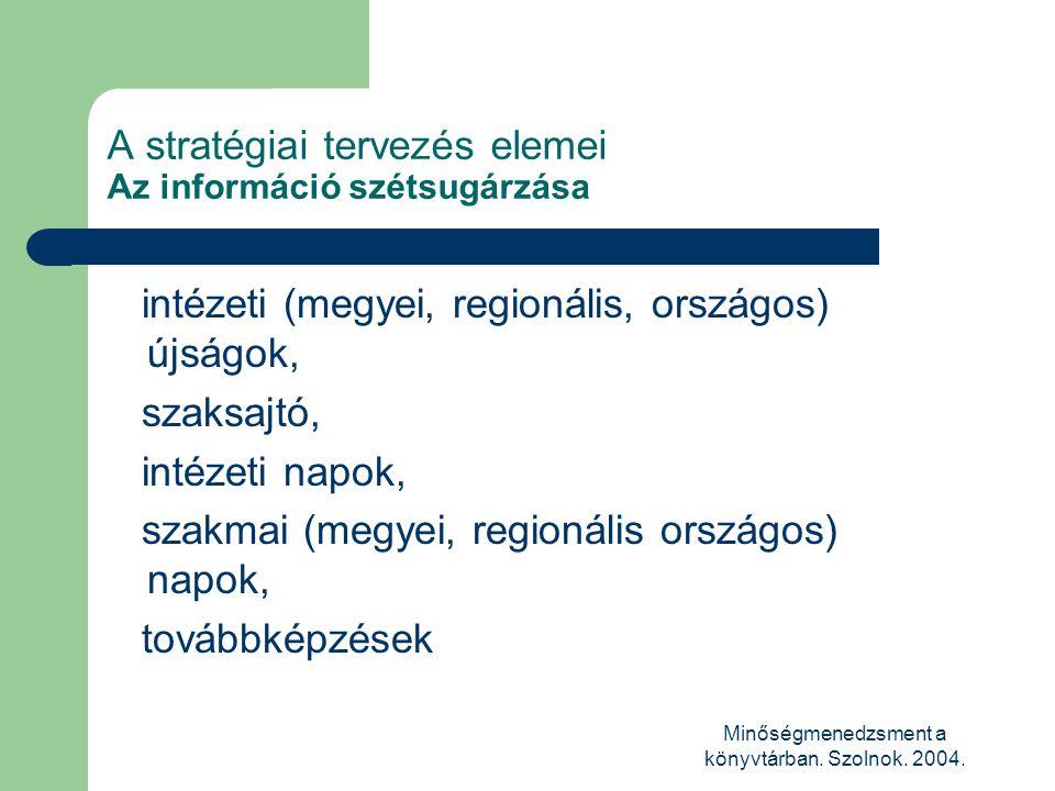 Minőségmenedzsment a könyvtárban. Szolnok. 2004. A stratégiai tervezés elemei Az információ szétsugárzása intézeti (megyei, regionális, országos) újsá