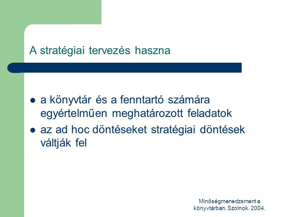 Minőségmenedzsment a könyvtárban. Szolnok. 2004. A stratégiai tervezés haszna  a könyvtár és a fenntartó számára egyértelműen meghatározott feladatok