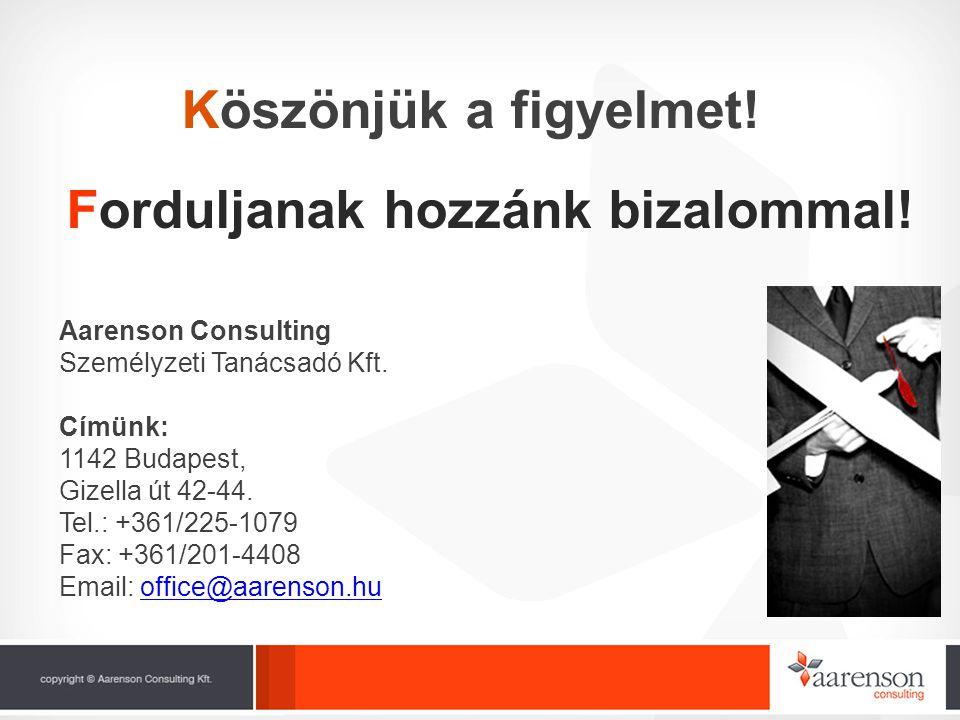 Köszönjük a figyelmet! Aarenson Consulting Személyzeti Tanácsadó Kft. Címünk: 1142 Budapest, Gizella út 42-44. Tel.: +361/225-1079 Fax: +361/201-4408