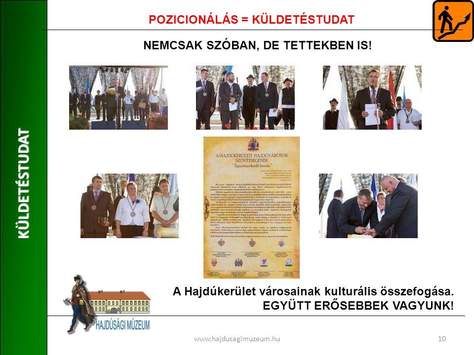 KÜLDETÉSTUDAT www.hajdusagimuzeum.hu10 POZICIONÁLÁS = KÜLDETÉSTUDAT NEMCSAK SZÓBAN, DE TETTEKBEN IS.