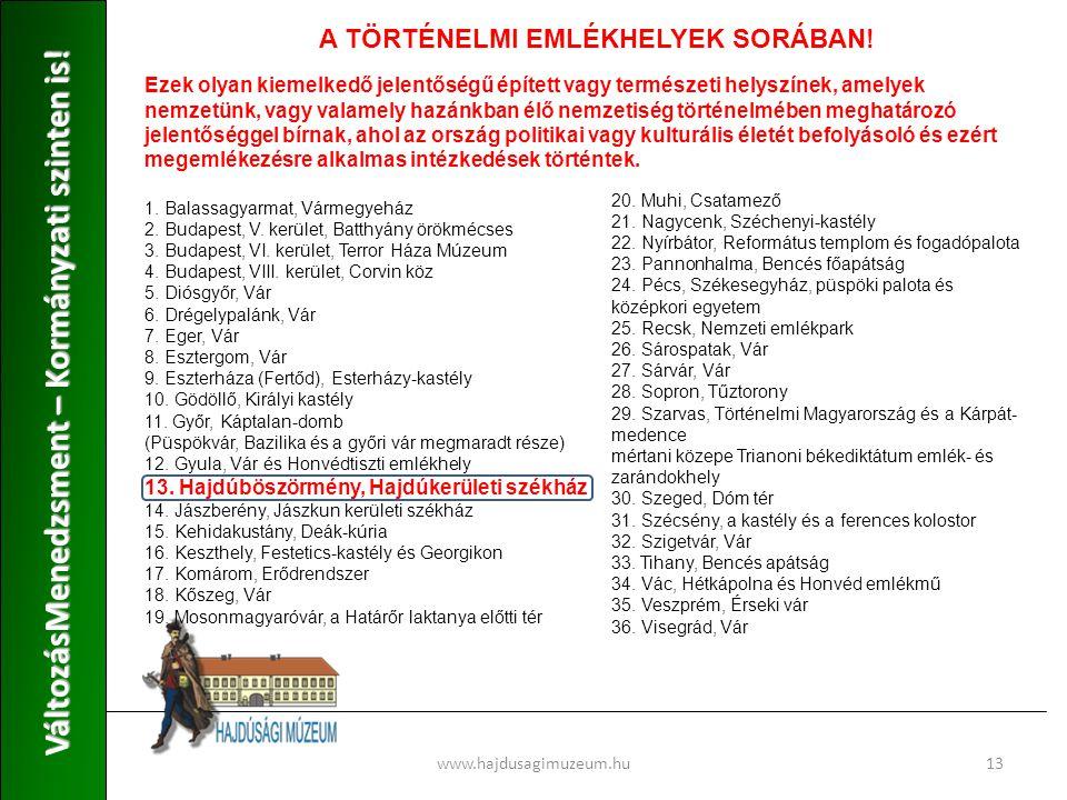 www.hajdusagimuzeum.hu13 VáltozásMenedzsment – Kormányzati szinten is.