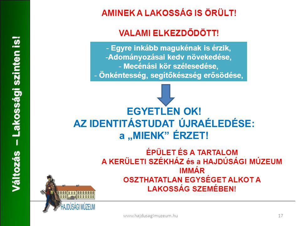 www.hajdusagimuzeum.hu17 Változás – Lakossági szinten is.
