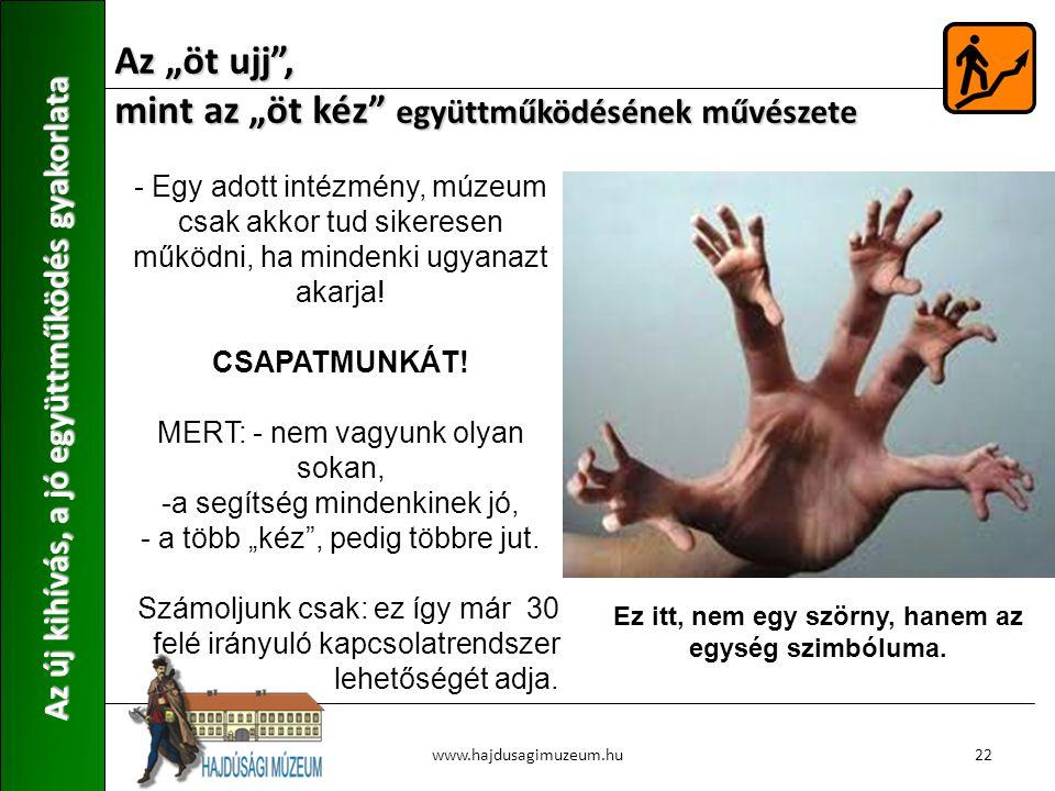 """Az """"öt ujj , mint az """"öt kéz együttműködésének művészete Az új kihívás, a jó együttműködés gyakorlata 22www.hajdusagimuzeum.hu - Egy adott intézmény, múzeum csak akkor tud sikeresen működni, ha mindenki ugyanazt akarja."""