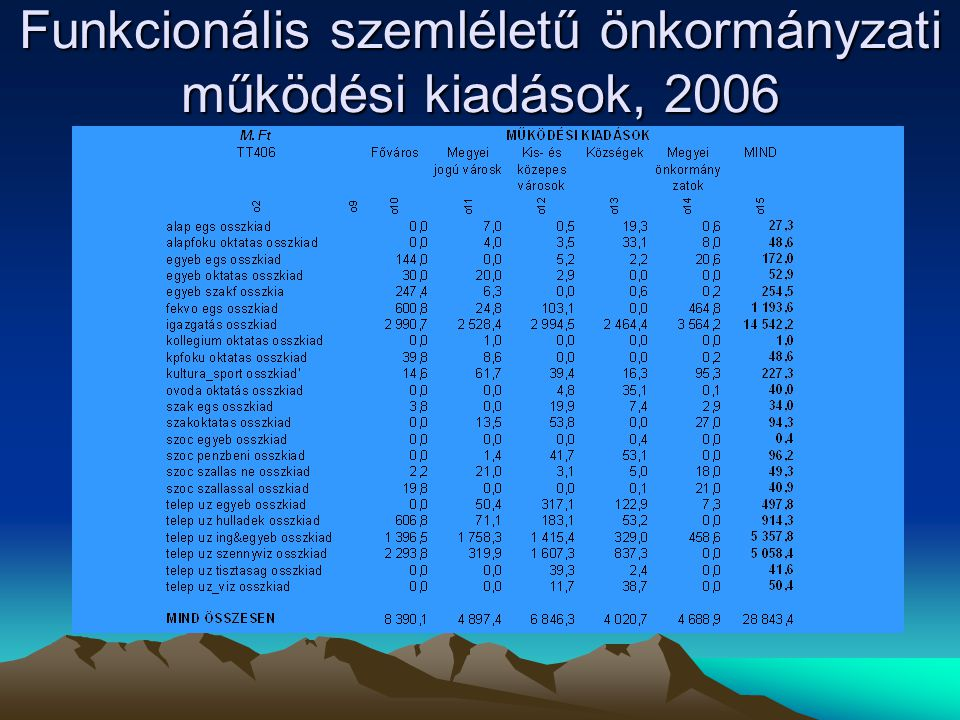 Funkcionális szemléletű önkormányzati működési kiadások, 2006