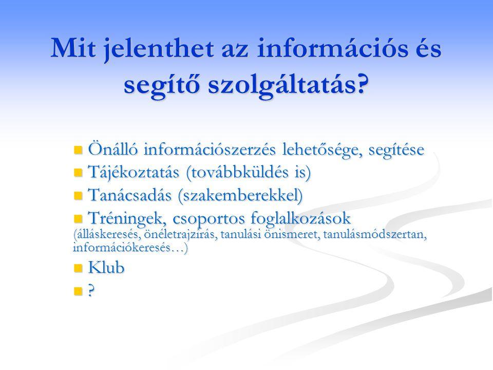 Mit jelenthet az információs és segítő szolgáltatás?  Önálló információszerzés lehetősége, segítése  Tájékoztatás (továbbküldés is)  Tanácsadás (sz