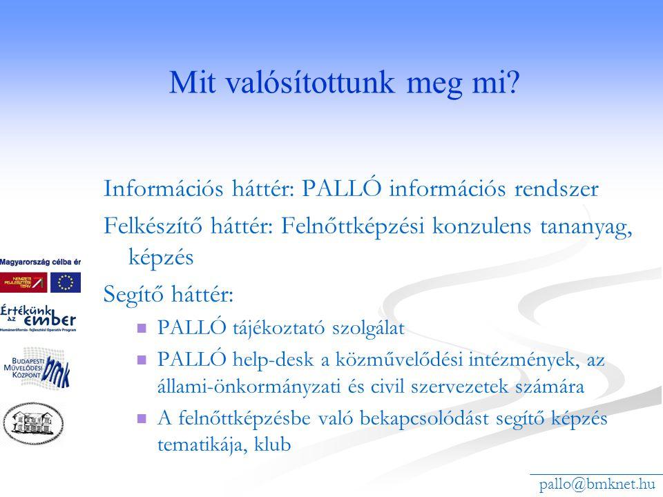 Mit valósítottunk meg mi? Információs háttér: PALLÓ információs rendszer Felkészítő háttér: Felnőttképzési konzulens tananyag, képzés Segítő háttér: 