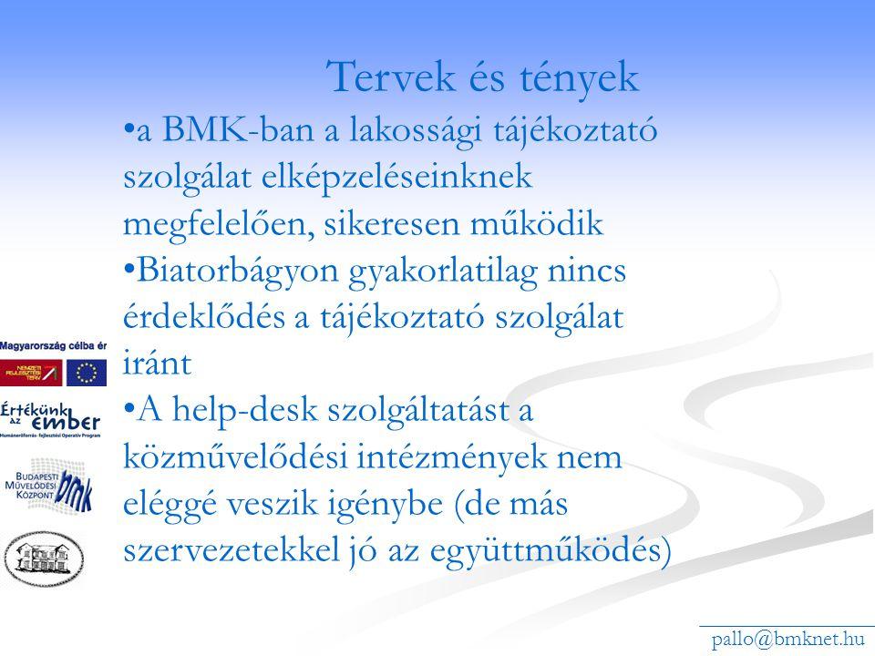 pallo@bmknet.hu •a BMK-ban a lakossági tájékoztató szolgálat elképzeléseinknek megfelelően, sikeresen működik •Biatorbágyon gyakorlatilag nincs érdekl