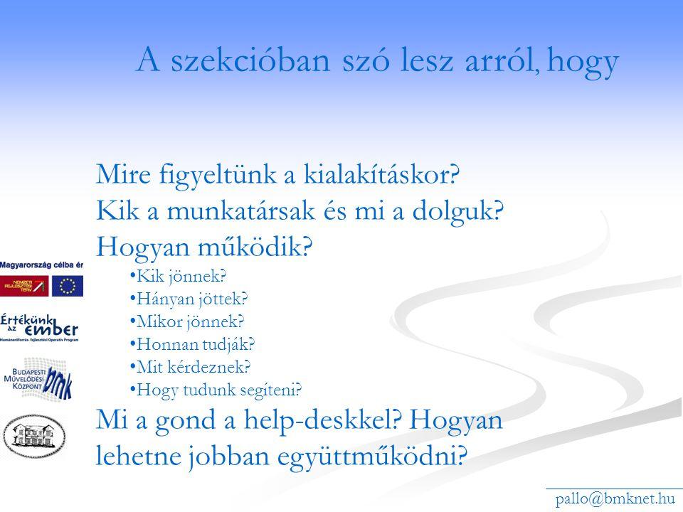 A konzulensképzést segítő PALLÓ információs rendszer www.pallo.bmknet.hu/helpdesk Miről lesz szó a szekcióban.
